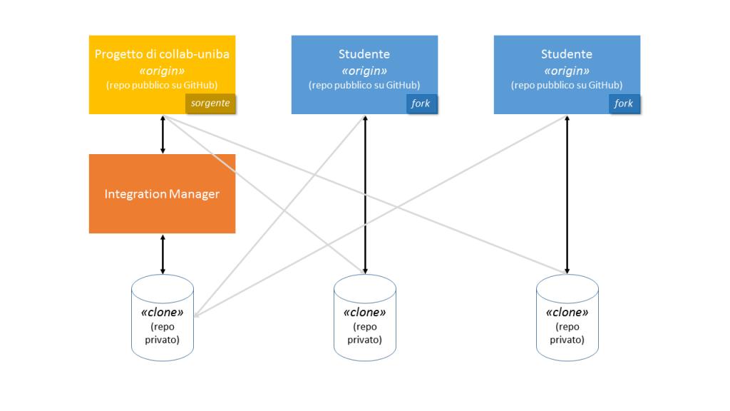 Figura 1. Il workflow distributo adottato per tutti i progetti Collab